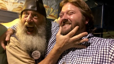 Vermin Supreme pinches a guest