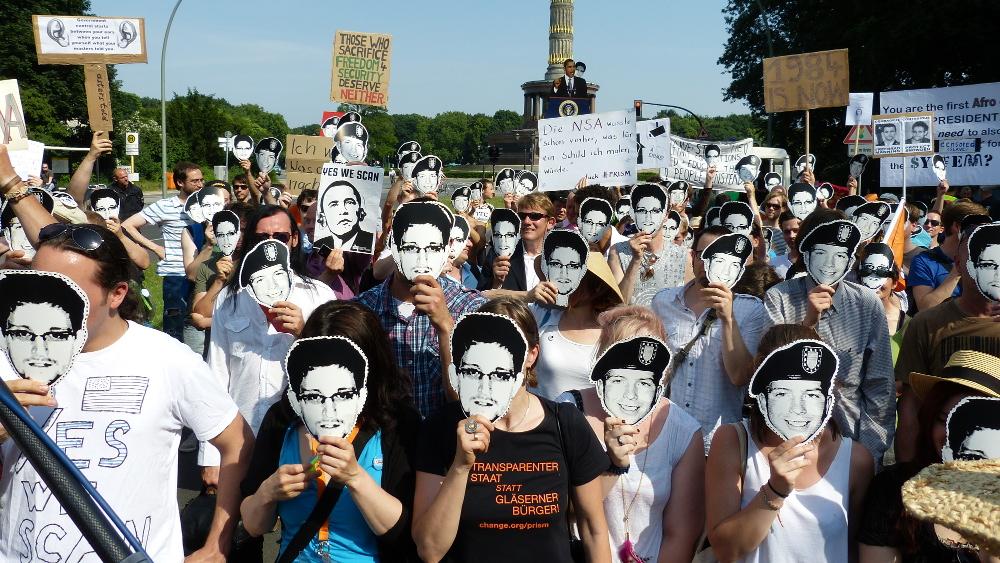 Protestors demonstrate against PRISM in Berlin, Germany in 2013