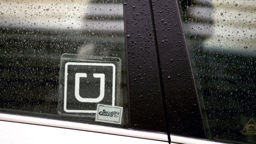 Uber car in rain